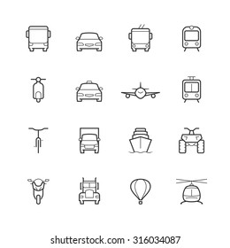 Transportation icons in thin line style, front view