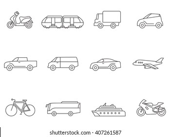 Transportation icons in thin outlines. Car, airplane, truck, bus.