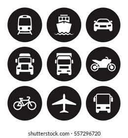 Transportation icons. White on a black background