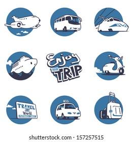 Transportation illustrations set. Vector graphics. 3 colors. Logo Templates.