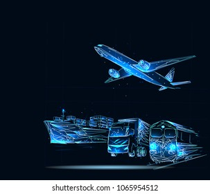 Transportation, import-export and logistics concept, container truck, ship in port and freight cargo plane in transport and import-export commercial logistic,. Low poly vector
