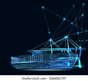 Transportation, import-export and logistics concept. Shipping port with cranes and container ship. Low poly vector illustration.