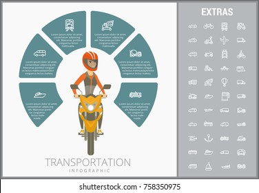 Transportation infographic template, elements and icons. Infograph includes customizable circular diagram, line icon set with transport vehicle, truck trailer, airplane flight, car, bus, train etc.
