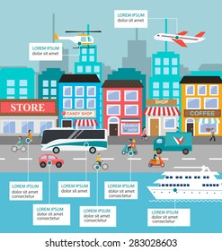 Transportation infographic with vector set of various urban and city cars and vehicles featuring truck, car, bike, scooter, plane, helicopter, yacht. Traffic infographics elements