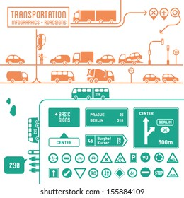Transportation infographics with basic roadsigns - graphic elements set