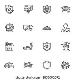 Transportation insurance line icons set, outline vector symbol collection, linear style pictogram pack. Signs, logo illustration. Set includes icons as air travel, car, shipping, automobile accident