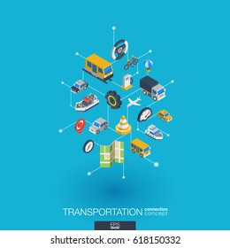 Transportation integrated 3d web icons. Digital network isometric interact concept. Connected graphic design dot and line system. Abstract background for traffic, navigation service. Vector Infograph