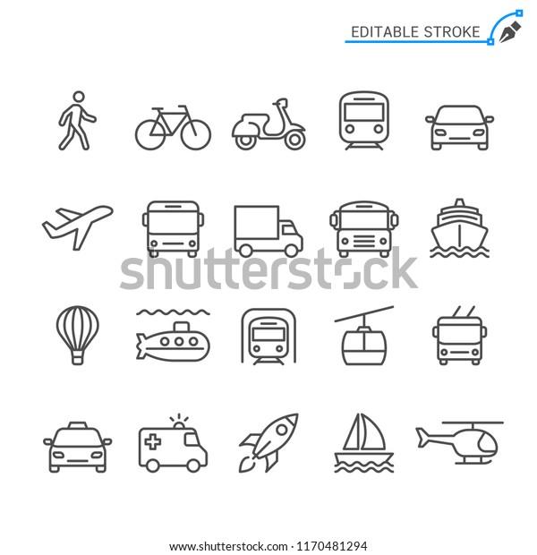 Transportation line icons. Editable stroke. Pixel perfect.
