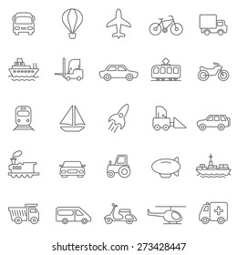 Transportation line icons set.Vector