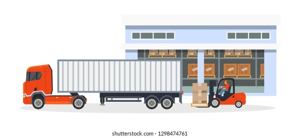 Transportation, logistic delivery of trucks on large van truck and loading of goods, boxes of products on a storage workers truck with man, warehouse worker at the wheel. Vector illustration isolated.
