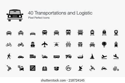 Transportation and Logistic Pixel Perfect Icons
