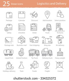 Transportation, logistics and delivery linear style icons set