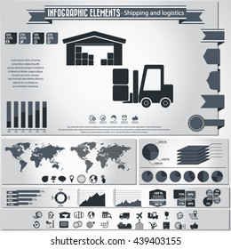 Transportation and logistics infographic - Transportation and logistics infographic elements and editable vector icons for video, mobile apps, Web sites and print projects.