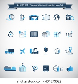 Transportation, logistics and shipping icon set
