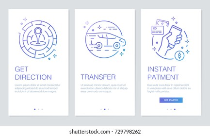 Transportation and navigation concept onboarding app screens. Modern and simplified vector illustration walkthrough screens template for mobile apps.