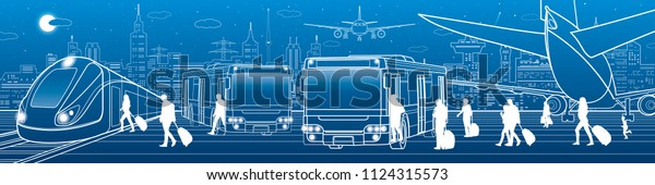 Transportation panorama. Passengers enter and exit to bus. People get on  train. Aviation travel  infrastructure. Plane is on the runway. Night city on background, vector design art