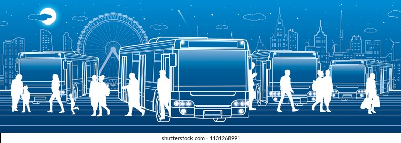 Transportation panoramic. Passengers enter and exit to the bus. People at the station. Town transport infrastructure. Night city at background, vector design art