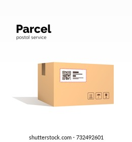 Transportation parcel. carton box container. QR code, closed parcel box, package paper box. package service, flat vector illustration isolated on white