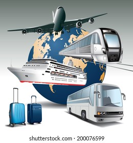 Transportation passenger by all means of transport.  Vector illustration