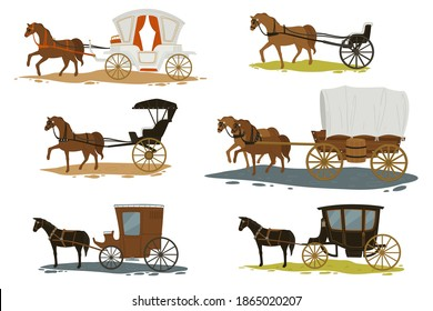 Transportation in past times, isolated horses pulling carriages with passengers. Romantic old city vacation. Chariots with vintage and retro looks. Fairytale or history. Vector in flat style