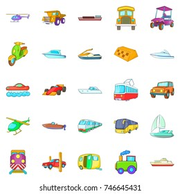 Transportation of people icons set. Cartoon set of 25 transportation of people vector icons for web isolated on white background
