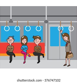Transportation people in metro cartoon