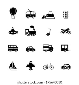 Transportation pictograms collection of passenger train tram taxi isolated vector illustration