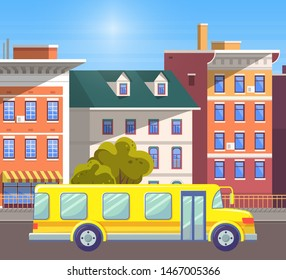 Transportation of pupils to school and from it vector, yellow bus on road of old city. Cityscape with sunshine of walls of buildings, apartments and houses. Flat cartoon