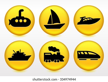 Transportation and Recreational Vehicles on Yellow Round Buttons