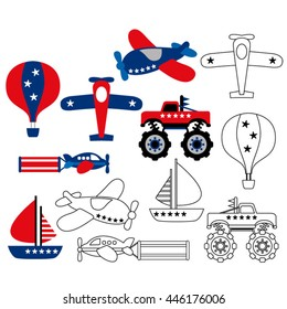 Transportation in red and blue. Cute vector