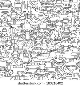 Transportation seamless pattern in black and white (repeated) with mini doodle drawings (icons). Illustration is in eps8 vector mode.