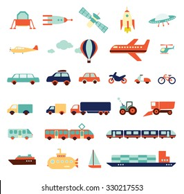transportation set, icons collection, travel set of  cars,  air-balloon, ships, bike, helicopter, airplane, ufo, train, bus, submarine, motorbike, moped, satellite, illustration elements, vector
