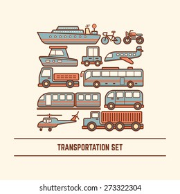 transportation set various type of vehicle car bus train truck van boat ship helicopter airplane