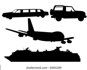transportation silhouettes plane, cruise ship, limo and SUV
