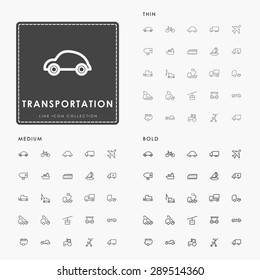transportation thin, medium and bold line icons
