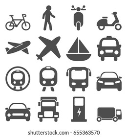 Transportation travels icons set