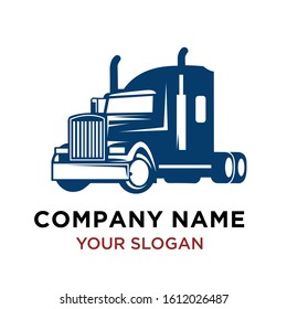 Transportation Truck Logo Design template/ Otomotif Logo Design, American style truck on freeway pulling load. Transportation theme. Road cars theme.