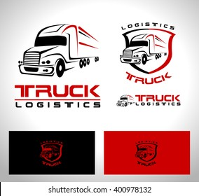 Transportation Truck Logo Vector Design. Creative Truck Trailer logo Shape with red and black colors.