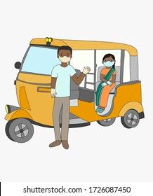 Transportation tuk tuk in India. Indian people lockdown woman and man wearing protective mask due to nationwide lockdown pandemic coronavirus vector isolated background.