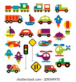 Transportation vector clip art in bright colors. Trains, trucks, cars, boat, planes, helicopters, rockets, traffic signs.