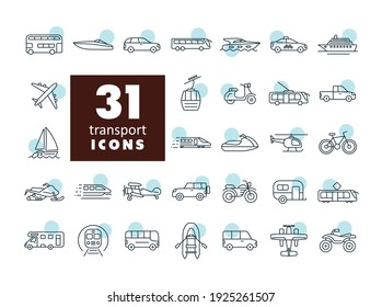 Transportation vector flat icon set. Graph symbol for travel and tourism web site and apps design, logo, app, UI