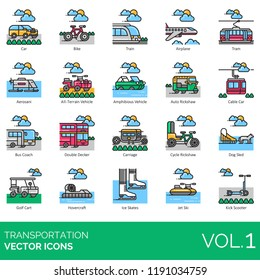 Transportation vector icons. Car, bike, train, airplane, tram, aerosani, amphibious vehicle, auto rickshaw, bus coach, double decker, carriage, cycle, dog sled, golf cart, hovercraft, scooter.
