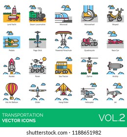 Transportation vector icons. Land yacht, steam locomotive, monorail, moped, pedalo, pogo stick, parachute, race car, rocket, rover, sea tractor, zipline, airship, hot air balloon, glider, helicopter.
