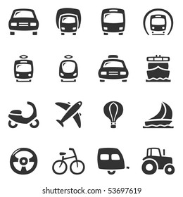 Transportation vector icons. Slightly asymmetric and curvy.
