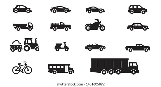 transportation and vehicle collection including car icons, truck icons, pickup icons and motorcycle icons, isolated