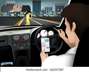 transportation and vehicle concept - man using smart phone while driving the car when woman and her child are crossing the road