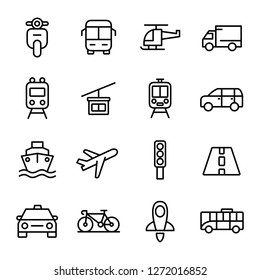 Transportation and vehicle icons pack. Isolated transportation and vehicle symbols collection. Graphic icons element