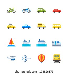 Transportation and Vehicles Icons : Flat Icon Set for Web and Mobile Application