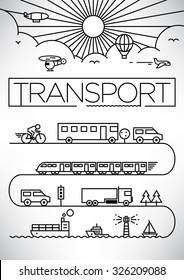 Transportation Vehicles Linear Vector Design Set