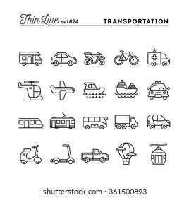 Transportation and vehicles, thin line icons set, vector illustration